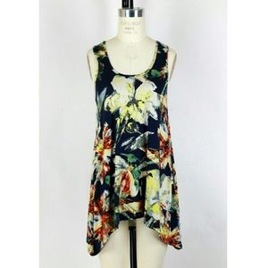 Anthropologie Weston Wear Navy Floral Tank Top